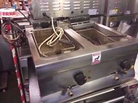 TWIN TANK DINER KITCHEN CAFE FASTFOOD CATERING CHIPS FRYER TAKEAWAY COMMERCIAL SHOP CHICKEN NUGGETS