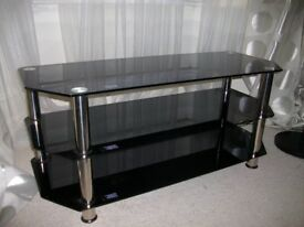 Black glass television table