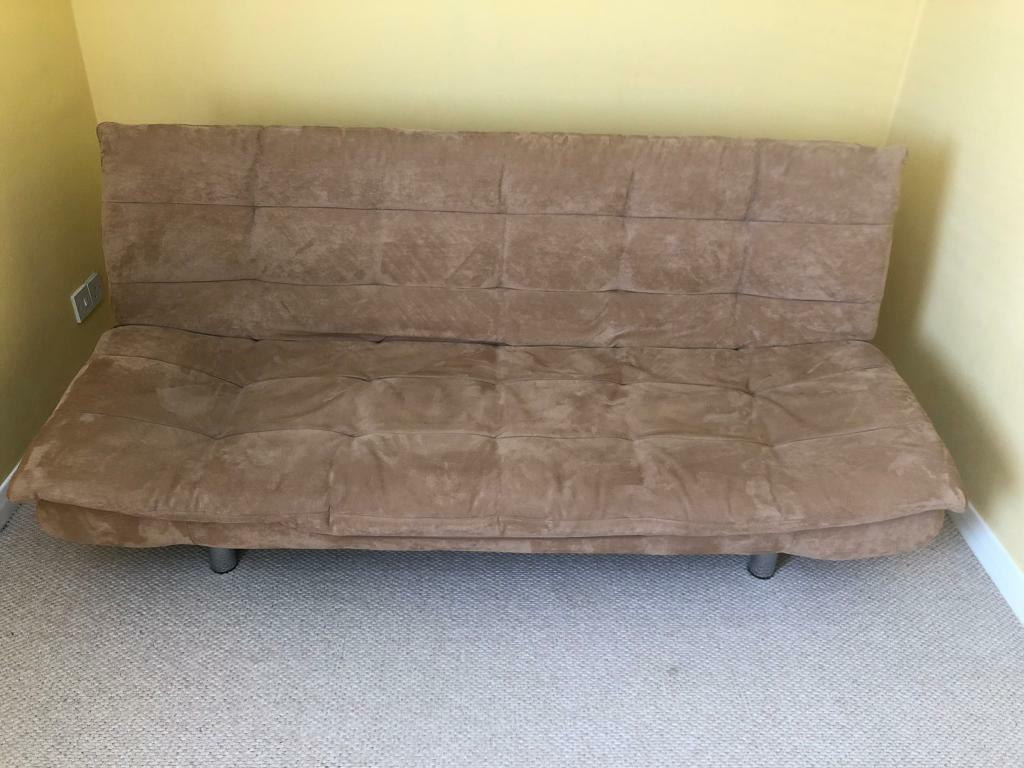 Brilliant Free Suede Effect Tan Futon Sofa Bed In Corstorphine Machost Co Dining Chair Design Ideas Machostcouk