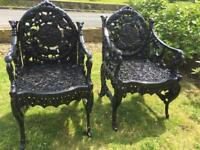 Stunning antique cast iron Chairs