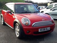 MINI COOPER 1.6 CLUBMAN, 2008, FULL SERVICE HISTORY, CHILLI RED, 6 SPEED, ALLOYS, LONG MOT, SUPERB