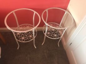 Pair of white glass topped metal decorative tables