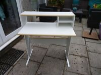White open backed Computer Desk with two side shelves