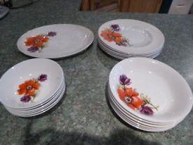 19 PIECE DINNER SET, POPPY DESIGN - Great Condition