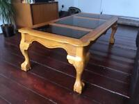 Vintage wooden and glass coffee table