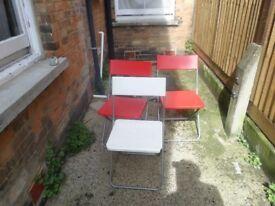 3 x Ikea Jeff Plastic Metal Red White Fold Away Chairs