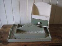 Shabby chic kitchen set of 3 items. Drawer unit, cutlery tray and tray. Upcycled. Cream and green
