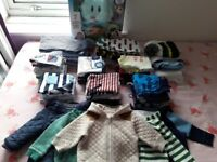 Baby boy's clothes bundle 50+ items 3-6 months job lot, 110 Pampers nappies & tummy time toy