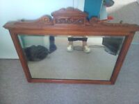 Beautiful solid wooden antique mirror