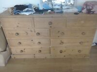 Solid double pine chest of drawers