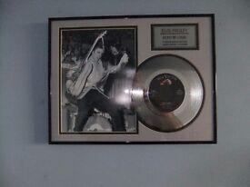 Elvis Presley framed platinum disc