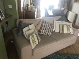 Lovely Modern Beige 3 Seater Sofa. Excellent As New Condition. Can Deliver.