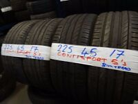 MATCHING SET 225 45 17 CONTISPORT 5s 7-8mm tread £120 for set SUPP & FITTED (loads more av} TXT S