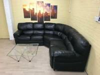 Gorgeous Black Leather Corner Sofa