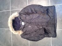 Boys Black Parker Coat Age 10-12yrs approx