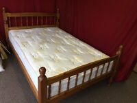 SOLID PINE 3/4 (4FT) DOUBLE BED WITH MATTRESS,CAN DELIVER