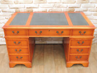 Antique style Yew pedestal desk with leather inlay (Delivery)