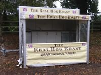 Hog roast catering unit serving trailer awning