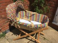 Wicker Moses Basket and Mamas & Papas wooden stand