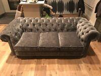 Grey Chenille Velvet Chesterfield Sofa