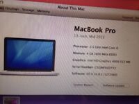 13 inch, mid 2012 macbook pro , 4gb, very good condition , fully working sandy beds sg19