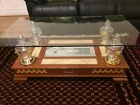 Lovely Tempered Glass coffee table with lower shelf and drawer for living room