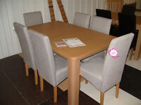 Shenley Oak Veneer Extendable Dining Table & 6 HOH Pale Grey Skirted Dining Chairs (Call 07851770393