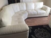 Leather corner sofa with swivel cuddle chair and half moon foot stool 3years old cost £3000