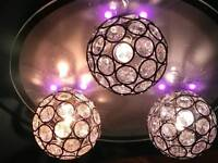 Chameleon crystal circle colour changing 3 lamp ceiling light