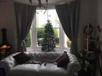 Three seater chesterfield-white leather Sofa