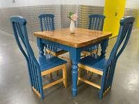 Solid farm house table with 4x chairs, Free delivery