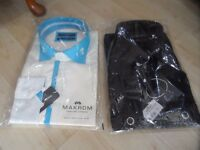 2 Large Men's formal Shirts. 1 x black with cufflinks, 1 x cream & turquoise with button cuffs
