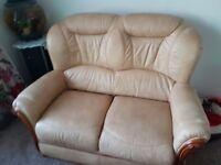 Leather cream sofa and two chairs