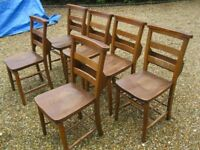 6 OLD CHAPEL / CHURCH PEW CHAIRS. Delivery possible. More dining chairs , benches & settle for sale