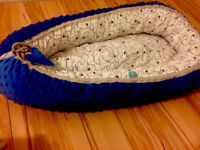 Extra cosy blue double sided minky baby nest!