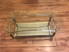 Glass mirrored lounge table