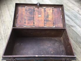 Trunk Military Metal antique Trunk Coffee table Storage Ornament Jones Brothers