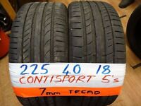 matching pair of 225 40 18 CONTISPORT 5s 6mm tread £80 pair sup & fittd(LOADS MORE AV 7-DAYS)