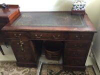 Antique Victorian Mahogany Pedestal Writing Desk
