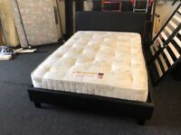 "4ft6"" double black leatherette bedstead and mattress"