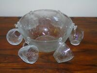 Vintage 1980s Punch Bowl and 6 Cups Glass Excellent Condition