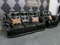 Stunning Refurbished Chesterfield 3 Seater Sofa & Chair in Green Leather Mansfield - Uk Delivery