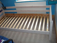Children's Highsleeper Bed (Thuka), lacquered white solid pine, blue trim, ladder & safety rail