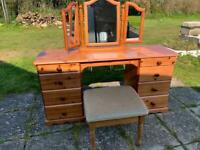 Dressing table drawers triple mirror and stool chair chest unit