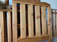 Pine cot bed.