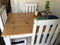Dining table with 4 chairs almost bran new