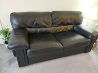 QUICK! Sofa Top Quality Black Leather & 2 beige tub chairs
