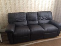 Real brown leather 3 seater reclyning sofa