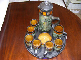 coffee set complete hand made beautiful condition (asnew never used)