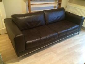 Large Chocolate Brown Leather Sofa